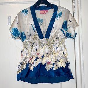 Yumi Kim Kimono Blue Floral Silk Blouse Small